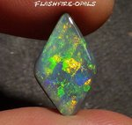 4.8ct. GEM SEMIBLACK OPAL ORANGE/GOLDEN/GREEN PATTERN