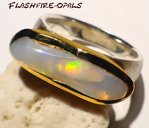 GEM OPAL-SILVER/GOLD RING RED-GOLD GR: 58