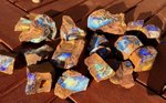 900 GRAMM/18Stck. BOULDER ROUGH OPAL PARCEL BLUE/PURPLE/TURQUISE/GREEN